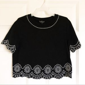 Topshop Embroidered B&W Crop Top